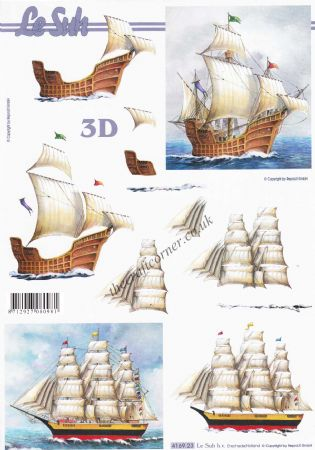 Galleon Ships 3d Decoupage Sheet